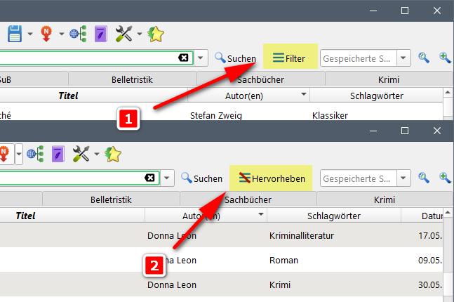 Calibre: Suchergebnisse filtern